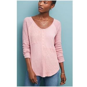 Anthropologie Patchwork Waffle Top New NWT Large